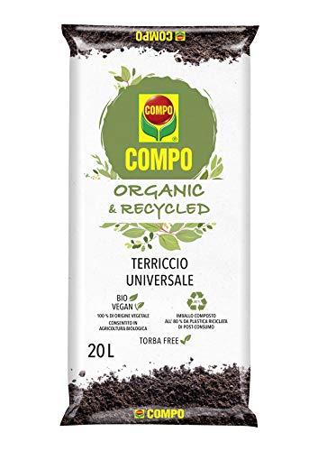 COMPO Suelo Universal ORGÁNICO & RECICLADO, Para plantas en macetas o en el suelo, Permitido en agricultura ecológica, Vegano, 20 litros