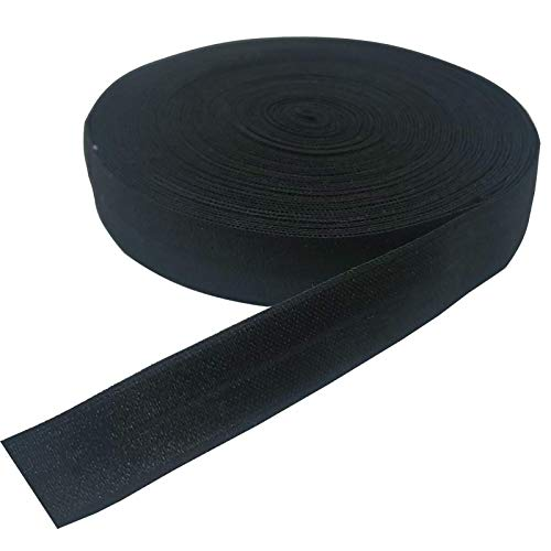 10 Yards Fold Over Elastic Stretch, Braided Elastic Ribbon for Hair Ties Headbands, Available in Various of Colours (Black, 5/8in)