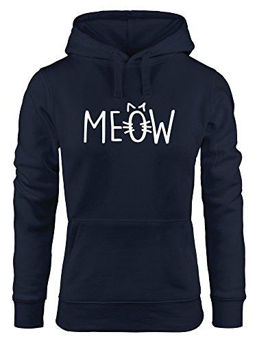 MoonWorks Lustiger Hoodie Damen Katze Meow MIAU Sweatshirt Kapuze Kapuzen-Pullover Navy S
