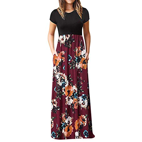 DIOMOR Women's Casual Bohemian Short Sleeve Crew Neck Long Dress Fashion Floor-Length Ruched Floral Maxi Dresses Gown Wine Red