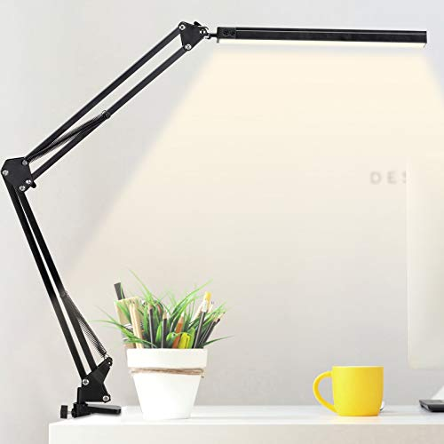 LED Desk Lamp with Metal Swing Arm, 12W Eye-Caring Table Lamp with Clamp,...