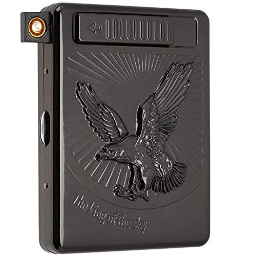 OUUUKL Caja para Cigarrillos de Metal, Capacidad para Paquete Completo de 20 Cigarrillos Normales, Portátil, Mechero Recargable con USB, sin Llama, Resistente al Viento