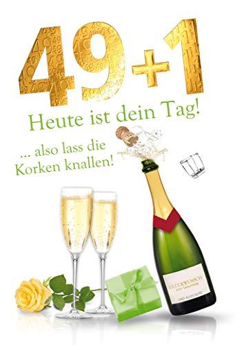 Karte zum 50. Geburtstag | Geburtstagskarte zum runden Geburtstag | Geburtstagskarte Set mit Umschlag | Karte in Folie | Karte ohne Innentext | DIN A6 | Klappkarte inkl. Umschlag | Motiv: 49+1