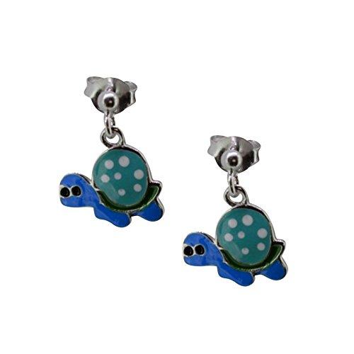 SL-Silver, orecchini di argento 925 per bambine con tartaruga colorata di cristallo, in confezione regalo.
