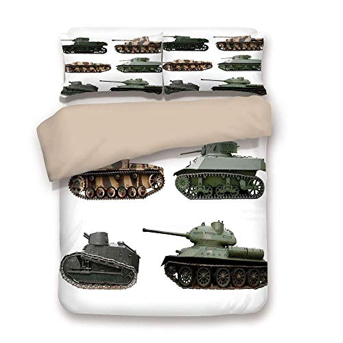 Soefipok Bettbezug-Set, Krieg Wohnkultur, Zweiten Weltkrieg Gepanzerte Panzer Camouflage Military Power Artillerie-Waffe, Grünweiß, dekorative 3 Stück Bettwäsche Set von 2 Kissen Sham Twin Size