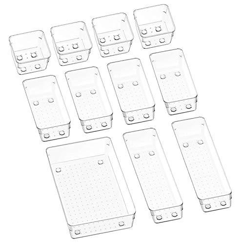 Puricon (11Stück) Plastik Schubladen Ordnungssystem Aufbewahrungsbox Stoffkasten Schubladeneinsatz Schubladen Tisch Büro Bade Make-up Organizer, Drawer Divider Cubes Container -Klar