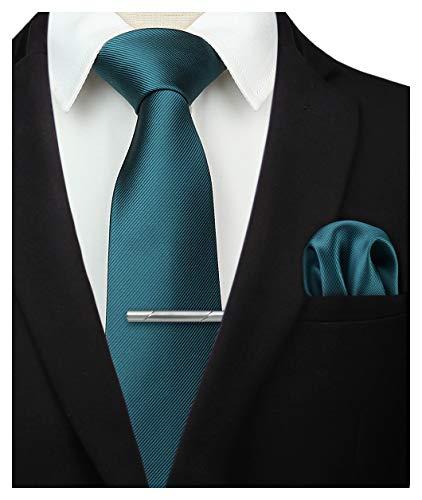 HISDERN Panuelo de corbata verde solido para hombres Fiesta