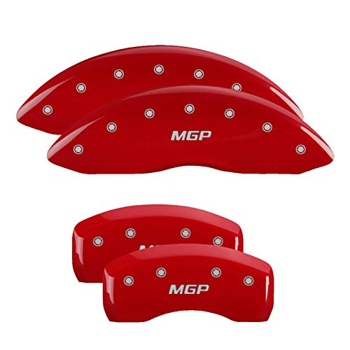 MGP Caliper Covers 21183SMGPRD Red Brake Covers Fits 2016-2019 Kia Optima (Mechanical Parking Brake) Engraved with MGP (Front/Rear Covers; Set of 4)