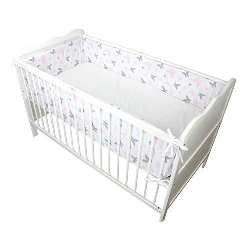 TupTam Babybett Bettumrandung Lang Gemustert, Farbe: Schmetterlingchen Rosa, Größe: 360x30cm (für Babybett 120x60)