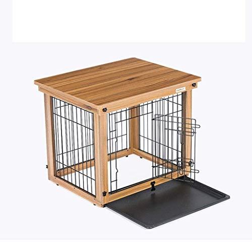 JLKDF Hundekisten Hundekäfig Innenzaun Zaun Holzkatzenkäfig Hundekäfig Hundehunde im Freien Profilnetz Plus ABS-Tablett Plus Käfigkisten-Zwinger (Größe: S)
