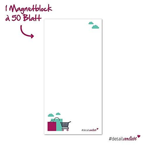 1 Notizblock Einkaufsliste mit magnetischer Rückseite I dv_169 I 10 x 20 cm I 50 Blatt I Set Vordruck für die Küche Handtasche Auto Organizer zum Abreißen aus Papier