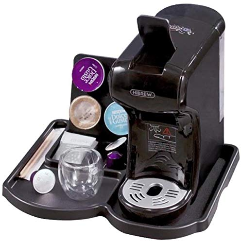 HiBREW 4-in-1 Multi-Function Espresso Dolce Gusto Machine Compatible with Nespresso Capsule, Dolce Gusto Capsule and Ground Coffee, Italian 19 Bar High Pressure Pump, 1450W (Black with Tray)