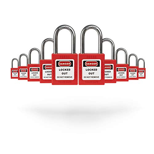 TRADESAFE Lockout Tagout Safety Padlock Sets - Red - 10 Pack - Keyed Alike - OSHA Compliant Loto Locks with 2 Keys Per Lock - for Lock Out Tag Out Stations - Premium Grade