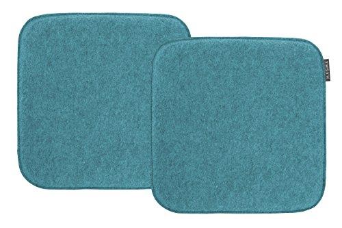 "Magma-Heimtex ""Avaro"", set di 2 cuscini quadrati per sedie, in finto feltro, circa 35 x 35 cm (petrolio)"