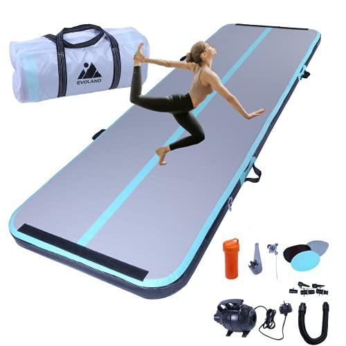 EVOLAND 3M Inflatable Gymnastics Mat Tumbling Mat, 10cm Thick Air Floor...