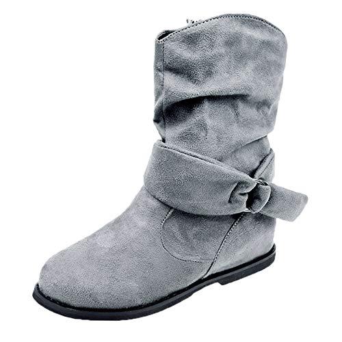 ❉Femmes Bottes de Neige Automne Hiver Bottines Chaussures Femmes Bottines Plates Chaussures Low Wedge Buckle Biker Cheville Garniture GongzhuMM