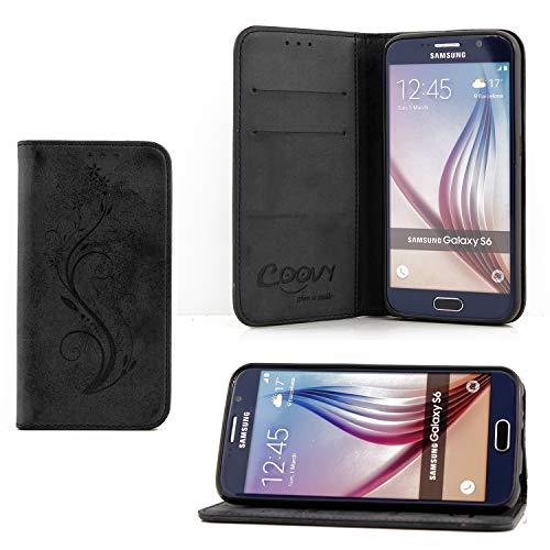 COOVY® Funda para Samsung Galaxy S6 SM-G920F SM-G920 Billetera, Ranuras para Tarjetas, Cierre magnético, Soporte, Protectora de Pantalla | Flower | Color Negro