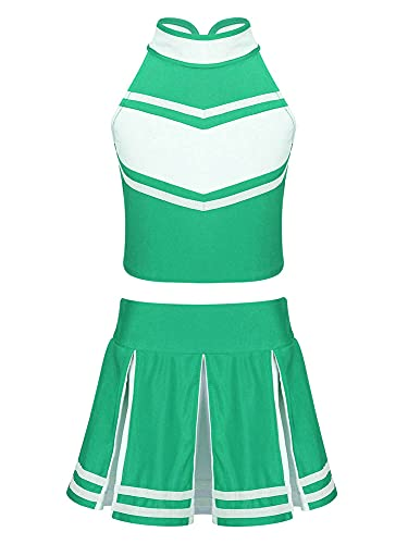 IEFIEL Disfraz Animadora Niña Traje de Porrista Top Sin Mangas+Falda Plisada Corta Conjuntos de Ropa de Danza Niña Verde 8 años