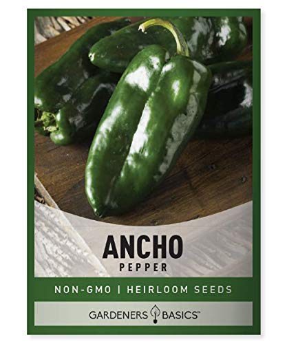 Ancho Poblano Pepper Seeds for Planting Heirloom Non-GMO Ancho Peppers Plant Seeds for Home Garden Vegetables Makes a Great Gift for Gardening by Gardeners Basics