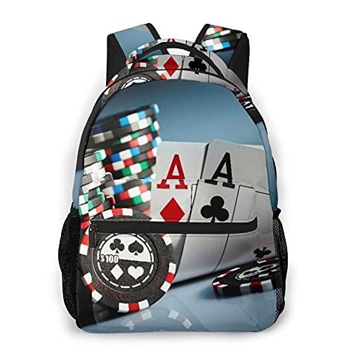 SXCVD Mochila informal,Torneo de póquer Fichas de juego y cartas de pares Ases Casi,Mochila para portátil de negocios,Mochila de viaje de senderismo para hombres,mujeres,adolescentes