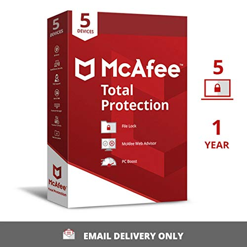 McAfee Total Protection (Windows / Mac / Android / iOS) 5 Devices, 1 Year (Single Key) (Email Delivery – No CD)