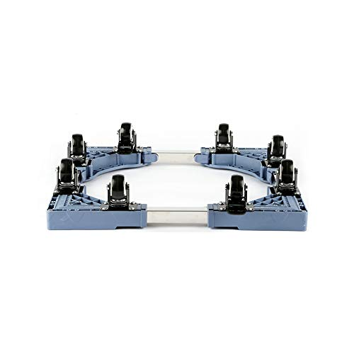 LYQQQQ Verstellbare Mobile Basis Multifunktionale bewegliche Basis mit 8 verriegelnden Gummi-Schwenkrollen-Rollwagen für Trockner, Waschmaschine und Kühlschrank