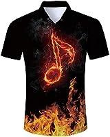 Fanient Men Button Down Dress Shirt Fire Note Printed Short Sleeve Tops Summer Casual Graphic Hawaiian Shirts L