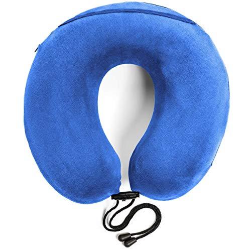 Travelrest - Almohada terapéutica de viaje y cuello con espuma de memoria - Funda lavable de microfibra - Se adhiere al equipaje - Se moldea perfectamente en el cuello y la cabeza - Garantía de 2 años (azul)