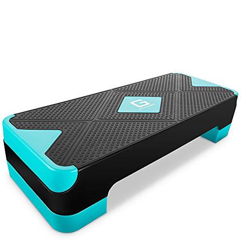 GYMMAGE 踏み台昇降 運動 ステップ台 2段階調節 幅68cm 有酸素運動 エクササイズ ダイエット 運動不足解消 カロリー消化 滑り止め (ブルー)