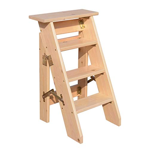 ZHENAO Step Stool for Adults Folding Portable Ladder,Household Stair Chair Wood Stepladders Lightweight Home Garden Tool / E1 / E1