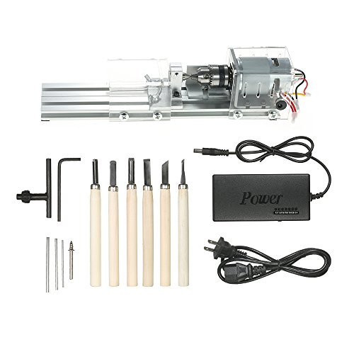 KKmoon 100W Mini Beads Machine Miniature Lathe DIY Woodworking Buddha Pearl Lathe Grinding and Polishing Beads Wood Working DIY Lathe Polishing Drill Rotary Tool 12-24VDC