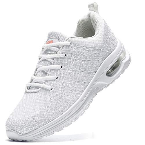 Damyuan Women's Walking Casual Shoes Air Cushion Running Jogging Gym Sports Sneakers White,8.5