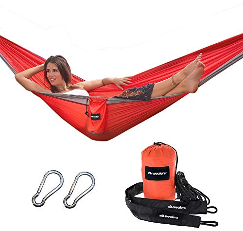 Wealers Camping Hammock – Rugged Parachute Hammock with Sporty Travel Bag, 2 Carabiners and Rope Sleeves for All Outdoor Excursions | Hiking, Fishing, Beach, Mountaineering Backyard Lounging – Orange