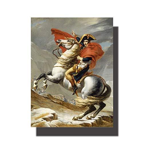 CBYLDDD Classical Napoleon Bonaparte Retrato Caballo de Caballo Pintura Pósters e Impresiones Arte de Pared Imágenes para Decoraciones de Sala de Estar 16x24in Sin Marco