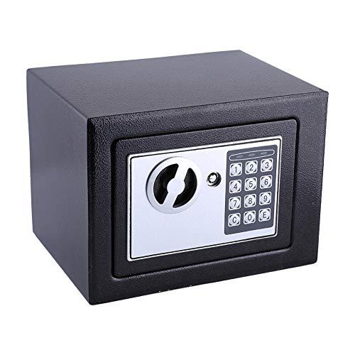 Elektronischer Safe Tresor, 6.4L Möbeltresor Elektronikschloss Doppelbolzenverriegelung Feuerfester Wandsafe Geldsafe, für Schmuck Bargeld Dokument Key Cash