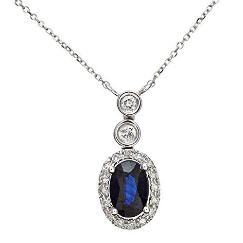 Naava Damen-Halskette 9 Karat 375 Weißgold Diamant rhodiniert blau DP1409WSA