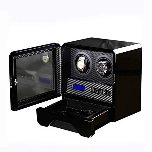 ZhenHe A prueba de polvo, 2 relojes automáticos de pintura de piano, reloj mecánico silencioso eléctrico giratorio con luces LED, 5 modos de rotación, caja de almacenamiento para hombres
