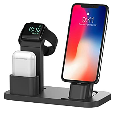 BEACOO Stand for iwatch 5, Charging Stand Dock Station for AirPods Stand Charging Docks Holder, Support for iwatch 5/4/3/2/1 NightStand Mode and for iPhone 11/X/7/7plus/SE/5s/6S by SZ Xinweidu Co,.Ltd