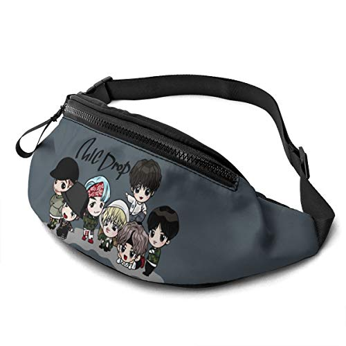 Qwertyi BTS Unisex Running Waist Packs Casual Waist Bag Hiking Sport Fanny Packs Carrying