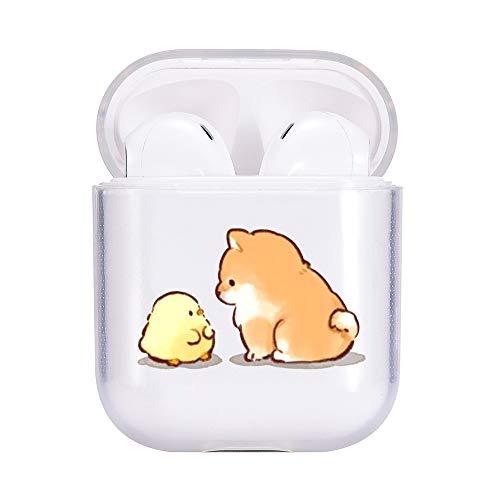 idocolors Süße Hülle Kompatibel mit AirPods 1 und 2 Cute Hülle Cover TPU Durchsichtig Weich (LED Sichtbar) - [Unterstützt kabelloses Laden] [Stoßfeste Schutzhülle] (H& 2)