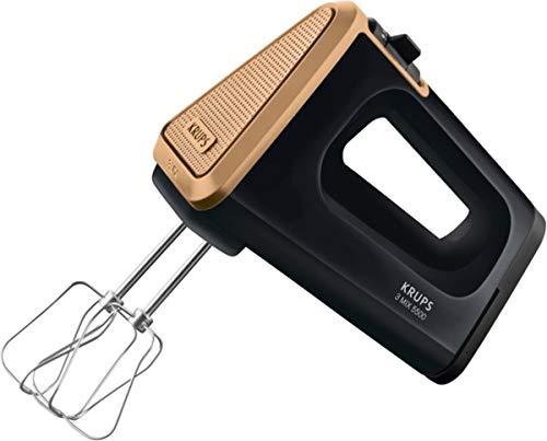 KRUPS 3 MIX 5500 Handmixer 60 Jahre Edition GN5058 (500 W, 5 Geschwindigkeiten + Turbo- & Auswurftaste, extra-langes Kabel, Schneebesen & Knethaken aus Edelstahl) schwarz/kupfer