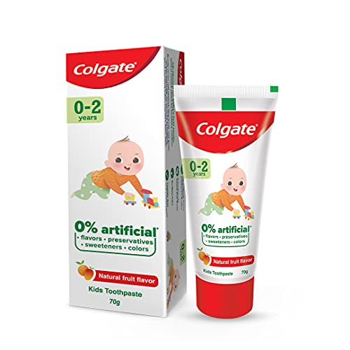 Colgate Toothpaste for Kids (0-2 years), Natural Fruit Flavour, Fluoride Free- 70g Tube