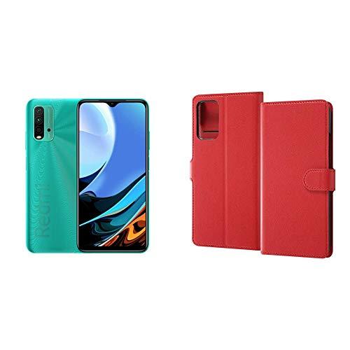 Xiaomi Redmi 9T 4+64GB オーシャングリーン 【日本正規代理店品】+レイ・アウト 手帳型ケース マグネット/レッドセット