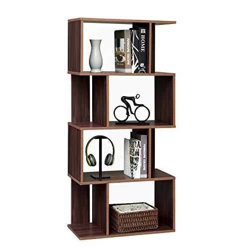 Rustic Bookcase Geometric Bookshelf Home Office Storage Shelves Vintage Display Shelf 4 Tiers Modern Organizer, Walnut
