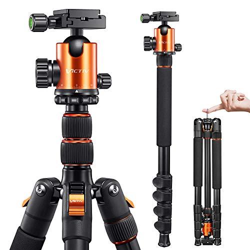 VICTIV 205cm Professionell Stativ für Kamera, Aluminiumlegierung Reisestativ Stativ für DSLR, 360 Grad Kugelkopf mit 38 mm Ladegewicht beträgt 10 kg, Abnehmbar Einbeinstativ mit Tragetasche - Orange