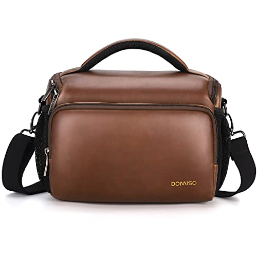 DOMISO Camera Bag Case Waterproof Anti-Shock Shoulder Bag for SLR DSLR Compatible with Nikon D90 D7000 D5300/Canon 60D 700D 5D2/Sony A580 A900/OLYMPUS/Fujifilm/Sony/Panasonic/Pentax/Samsung,Brown