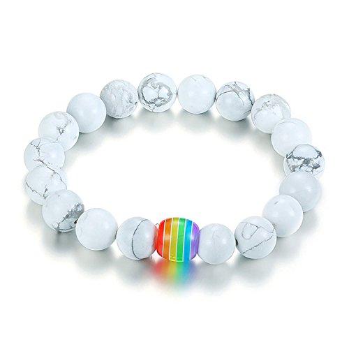 Nanafast LGBT Pride Rainbow Bracelet Lava Rock/Tiger Eye Stone Bead Bracelets For Gay Lesibian (White Howlite)