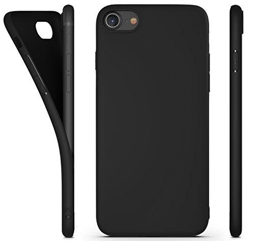 RED CANARY Coque iPhone 7, Coque iPhone 8, Ultra-Fine 0,60 mm, TPU Premium, Finition Noir Mat, [Garantie Vie], Matire Anti-drapante, Noir