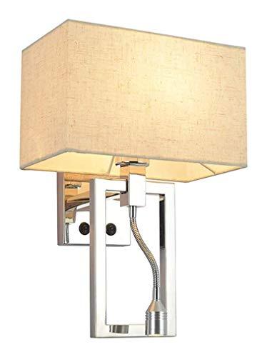 YANQING Duurzame Wandlamp met Schakelaar, 2 in 1 met Verstelbare Leesarm, Wit Scherm Fabric, E27, Wandlamp Wandlamp voor Hotel Slaapkamer Woonkamer A++