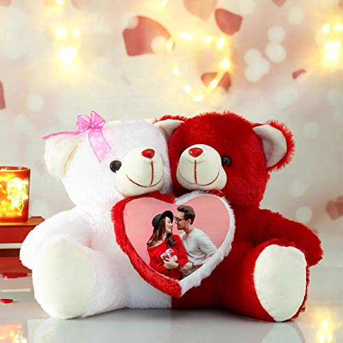 Anita Corporation Personalized Photo Couple Teddy Photo Frame with 1 Photo Ideal for Gifting to Loved One (Red and White)